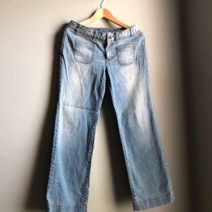 Denim jeans, light washed color, flare legs